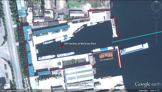 An image of facilities for KJI and DPRK elite boats at Wo'nsan Port where the ships docked prior to their journey for Pyongyang (Photo: Google image)