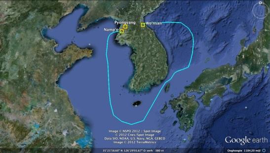 An estimate route of KJI's pleasure boats from Wo'nsan, Kangwo'n Province to Pyongyang via Namp'o (Photo: Google image)