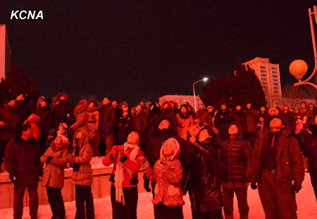 Pyongyang citizens watch a fireworks displays over the skies of the DPRK capital on 1 January 2013.  (KCNA)