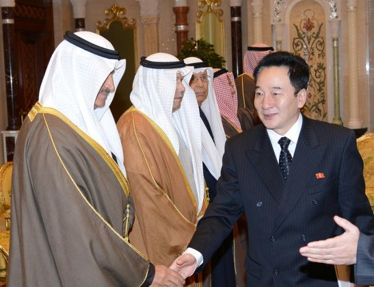 DPRK Ambassador to Kuwait So Chang Sik (R) shakes hands with Kuwaiti officials prior to a ceremony at which Ambassador So presented his diplomatic credentials on 15 January 2013 (Photo: (Photo: Al Diwan Al Amiri of Kuwait State)