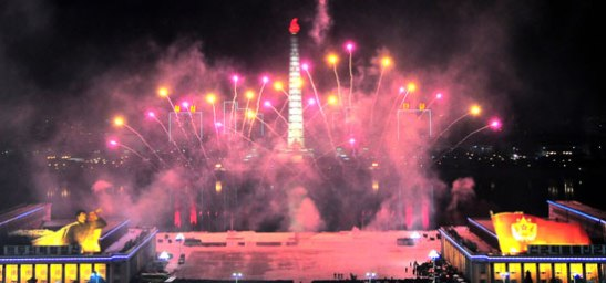 A fireworks display illuminates the Tower of the Chuch'e Idea and the skies over Kim Il Sung Square in Pyongyang on 1 January 2013 (Photo: Rodong Sinmun)