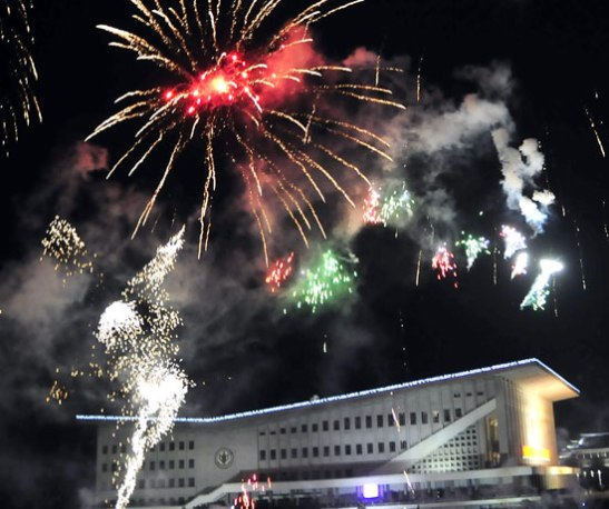 A New Year's Day fireworks display over the Pyongyang Indoor Stadium on 1 January 2013 (Photo: Rodong Sinmun)