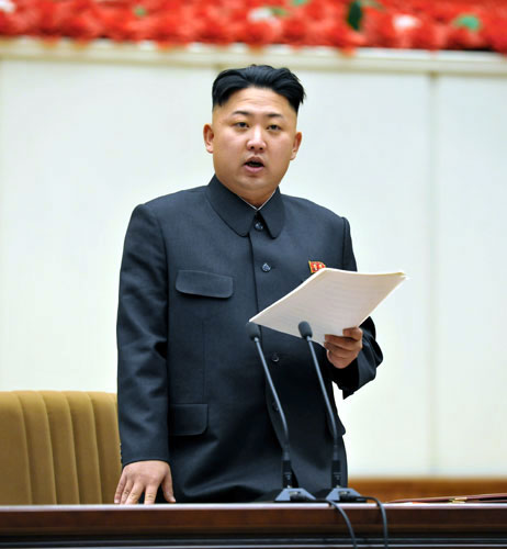 Kim Jong Un delivers the opening speech at the Fourth Meeting of Party Cell Secretaries in Pyongyang on 28 January 2013 (Photo: Rodong Sinmun)