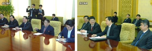 DPRK officials (L) meet with a Chinese economic and trade delegation (R) at Mansudae Assembly Hall in Pyongyang on 10 January 2013 (Photos: KCNA)