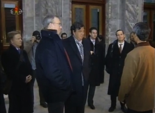 Google Executive Chairman Eric Schmidt (2nd L) and former New Mexico Governor Bill Richardson (3rd L) begin a tour of the Grand People's Study House in central Pyongyang on 9 January 2013 (Photo: KCTV screengrab)