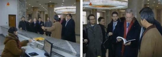 The Richardson-Schmidt delegation visit an information desk at the Grand People's Study House (Photos: KCTV screengrabs)