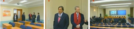 Bill Richardson and Eric Schmidt (C) tour a lecture hall at Kim Il Sung University's E-Library (Photos: KCTV screengrabs)