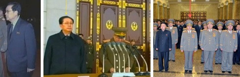 Jang Song Taek at the Ku'mususan Memorial Palace of the Sun on 17 December 2012 (L and C) and on 24 December 2012 (R) (Photos: KCTV screengrabs and Rodong Sinmun)