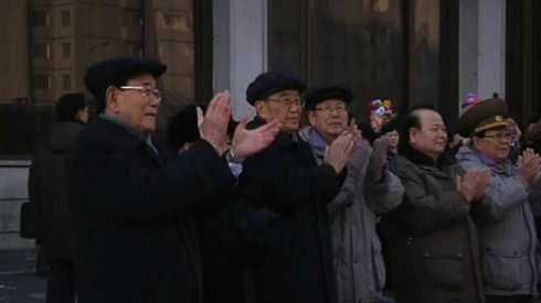 Senior Korean Workers' Party and DPRK Government official applaud as rocket launch personnel depart Koryo Hotel in central Pyongyang on 4 January 2013.  Seen in this image are (L-R): Kim Yong Nam, Choe Yong Rim, Kim Ki Nam, Choe Tae Bok, Pak To Chun and VMar Kim Yong Chun (Photo: KCTV screengrab)