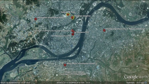 The last known places where Kim Jong Il was present during 15-16 December 2011 (Photo: Google image)