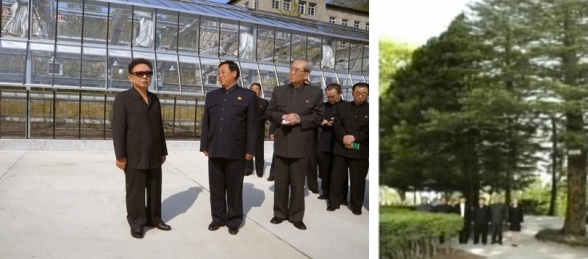 Kim Jong Il visits Wo'nsan University of Agriculture (L) in April 2009, an event which Kim Jong Un attended as hereditary successor.  During this visit  Kim Jong Un posed for a commemorative photo with his two siblings and KWP officials (Photos: KCNA, KCTV-Yonhap)
