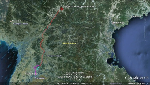 The railway route Kim Jong Il would utilized if, as Chosun Ilbo claims, he traveled from Pyongyang to the Hu'ich'o'n Power Station, then died en route (Photo: Google image; route drawn by M. Madden)