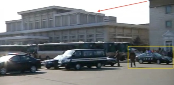 Pyongyang Centraal Railway Station's VIP section (annotated).  Also annotated is a car belonging to Inspector O's foils from the Pyongyang Traffic Bureau (Photo: KCTV screengrab)