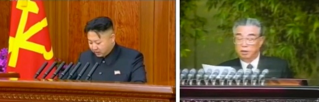 Kim Jong Un (L) delivers the 2013 New Year's Day Speech, reviving a tradition under Kim Il Sung (R), seen delivering his last New Year's Day message on 1 January 1994 (Photos: KCTV screengrabs)