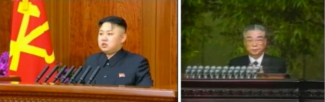 Kim Jong Un (L) concludes his New Year's Day remarks on 1 January 2013 and Kim Il Sung concludes his New Year's Day remarks on1 January 1994 (Photos: KCTV screengrabs)