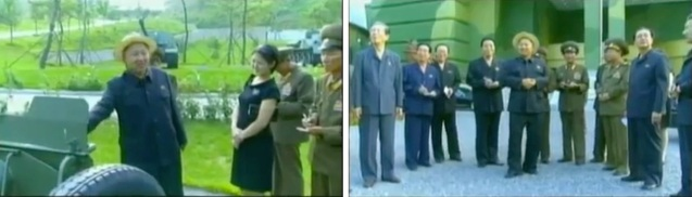 Kim Jong Un examines an artillery piece (L) and stands at the entrance of the KPA Exhibition of Arms and Equipment (Photos: KCTV screengrab)