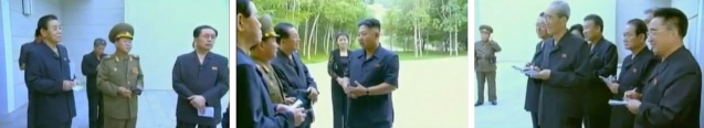 After the KPISF all-woman brass ensemble performance, Kim Jong Un talked with members of the central leadership (Photos: KCTV screengrabs)