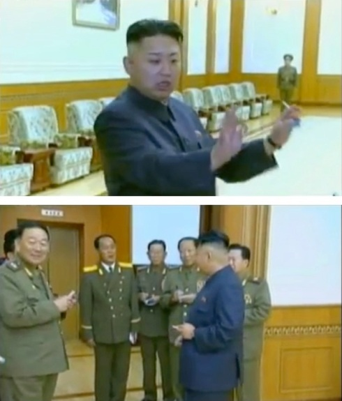 Kim Jong Un smokes a cigarette after the KPA Brass Band performance (top) and talking to officials (Photos: KCTV screengrab)