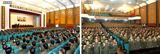 """A meeting """"to carry out the important tasks"""" in Kim Jong Un's New Year's Address held in an assembly hall at Ministry of People's Security headquarters in Pyongyang on 5 January 2012 (Photos: KCNA)"""