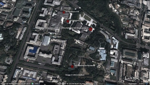 View of KJI's main base of operations showing his headquarters (the KWP CC #1 Office), his personal clinic and two of the residences where he alternated staying when he was in the city centre of Pyongyang.  KJI's residential compounds in Ryongsong District and Kangdong County, and those lcoated in the provinces, also had clinic facilities and on-call medical personnel (Photo: Google image)