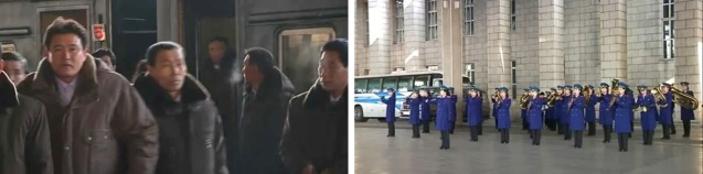 Party cell secretaries and participants at the 4th Meeting of Secretaries of Cells of the KWP arrive at Pyongyang Centraal Railway Station (L) on 26 January 2013, as members of the Korean People's Internal Security Forces All-Female Brass Ensemble play welcoming music (R) (Photos: KCTV screengrabs)