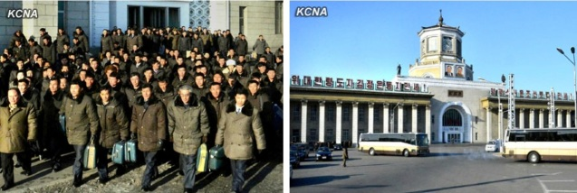 Party cell secretaries (L) arrive in Pyongyang, at the central railway station (R) on 26 January 2013 (Photos: KCNA)