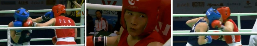 2012 Top DPRK Athlete DPRK boxer Pak Kyong Ok (C, red) fights the US' Mikaela Mayer in the light welterweight semi-finals of the AIBA Women's World Boxing Championships in Qinhuangdao, PRC, on 18 May 2013 (Photos: AIBA screengrabs)