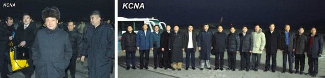 Chinese Vice Minister of Commerice Li Jinzao (L) arrives in Pyongyang on 7 January 2013 at the head of a delegation (R) attending the 7th DPRK-China Intergovernmental Cooperation Committee for Economy, Trade, Science and Technology (Photos: KCNA)