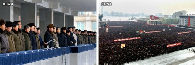 View of the platform and participants at a mass rally in Pyongyang on 5 January 2013 (Photos: KCNA)