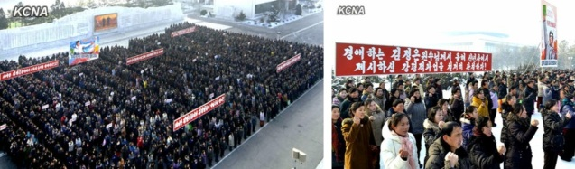 Rallies for Kim Jong Un's New Year's Address were staged by the General Federation of Trade Unions of Korea at Mansuade Art Studio (L) and the Union of Agricultural Workers of Korea at the Three Revolutions' Exhibition (R) in Pyongyang on 8 January 2013 (Photos: KCNA)