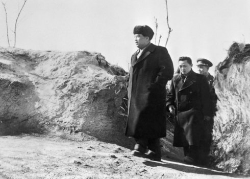 Kim Il Sung and Kim Jong Il visit Mt. Taedok on 6 February 1963 (Photo: Rodong Sinmun/Party History Institute)