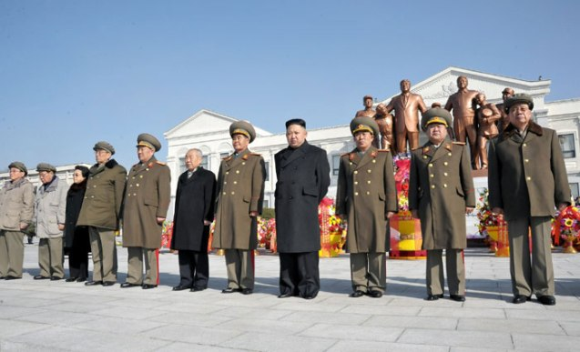 Kim Jong Un (4th R)  and members of the central leadership stand in front of statues of Kim Il Sung and Kim Jong Il during an unveiling ceremony on the campus of Mangyo'ngdae School on 16 February 2013.  Among those in attendance in this image are: Gen. O Kuk Ryol (L), VMar Ri Yong Mu (2nd L) Kim Kyong Hui (3rd L), Kim Ki Nam (4th L), Choe Yong Rim (6th L), VMar Choe Ryong Hae (2nd R) and Jang Song Taek (R) (Photo: Rodong Sinmun)