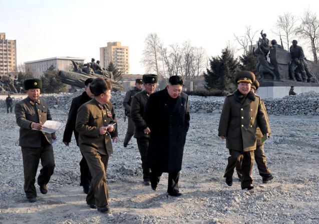 Kim Jong Un (2nd R) tours the renovation work at the Fatherland Liberation War (Korean War) Museum in Pyongyang.  Also in attendance is VMar Choe Ryong Hae (R), Director of the KPA General Political Department (Photo: Rodong Sinmun)