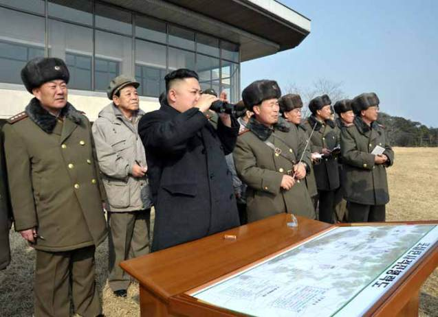 Kim Jong Un observes live artillery exercises by an undisclosed KPA unit (Photo: Rodong Sinmun)