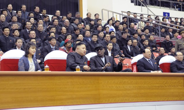 Kim Jong Un (2nd L) talks with Dennis Rodman (3rd R) during a basketball game of US and DPRK players at the Ryugyong Jong Ju Yong Indoor Stadium on 28 February 2013 (Photo: Rodong Sinmun)