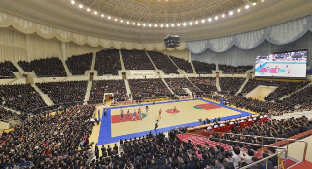 Overview of a basketball games played by US and DPRK basketball players at Ryuyong Jong Ju Yong Indoor Stadium in Pyongyang on 28 February 2013. (Photo: Rodong Sinmun)