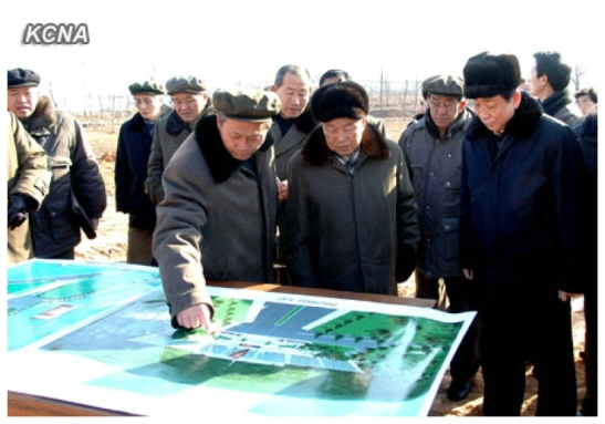 DPRK Premier Choe Yong Rim (2nd R) is briefed about the construction of the KPA Cemetery of Fallen Fighters (Photo: KCNA)