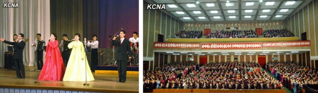 Performance by members of the General Federation of Trade Unions of Korea at the Central Workers' Hall in eat Pyongyang on 14 February 2013 to commemorate Kim Jong Il's birthday (Photos: KCNA)