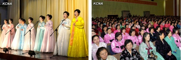 Performances (L) and participants (R) at a meeting held by the Korean Democratic Women's Union at the Women's Hall in central Pyongyang on 14 February 2013 to commemorate Kim Jong Il's birthday (Photos: KCNA)
