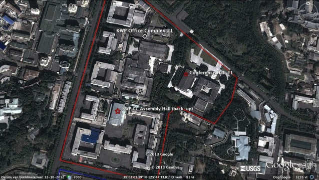 Area of the KWP Central Committee #1 Office Complex in central Pyongyang, showing two possible venues for watch presentation ceremony.  The ceremony likely occurred in the structure marked Conference Hall #1. (Photo: Google images; lines and placemarks by Michael Madden/NKLW)