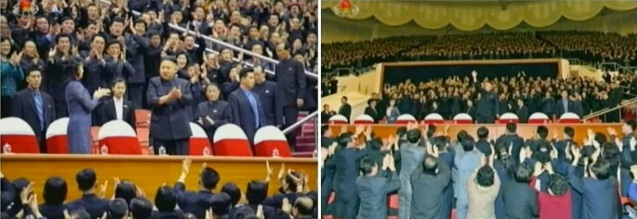 Kim Jong Un arriving at Ryugyong Jong Ju Yong Stadium for a 28 February 2013 exhibition basketball game and greeting those in attendance (Photos: KCTV screengrab)