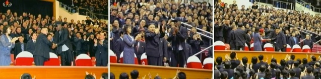 Dennis Rodman arrives at Ryugyong Jong Ju Yong Indoor Stadium in Pyongyang on 28 February 2013.  At the left in the images is Ri Sol Ju, Kim Jong Un's wife (Photo: KCTV screengrabs)