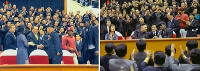 Kim Jong Un greets other members of the US basketball delegation (L) and talks to Dennis Rodman in Pyongyang on 28 February 2013 (Photos: KCTV screengrab)