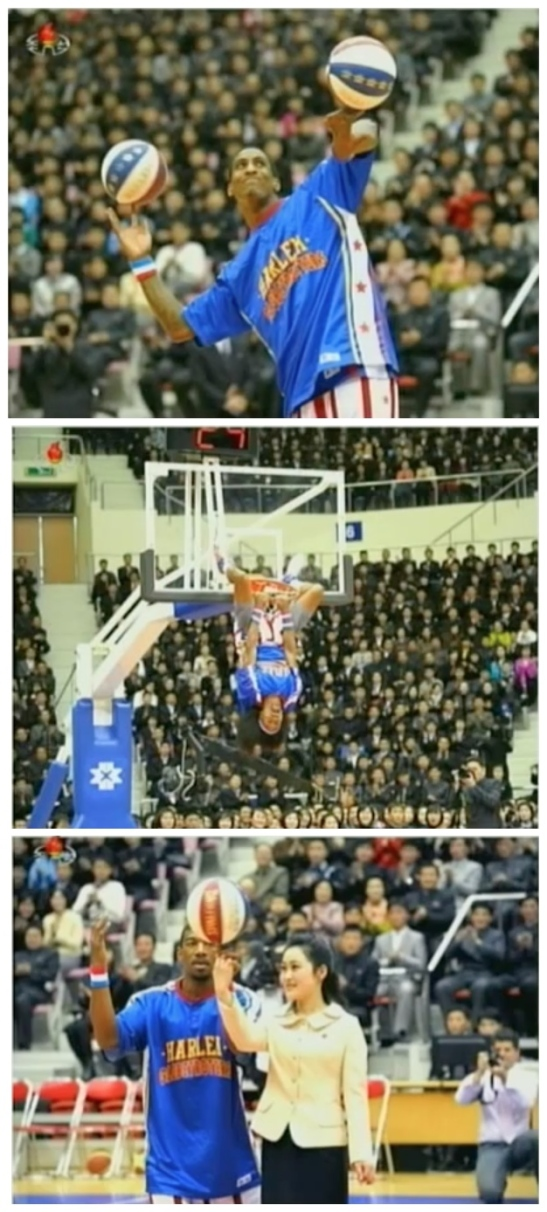 Members of the Harlem Globetrotters demonstrate various tricks prior to a scrimmage between DPRK and US basketball players (Photos: KCTV screengrabs)