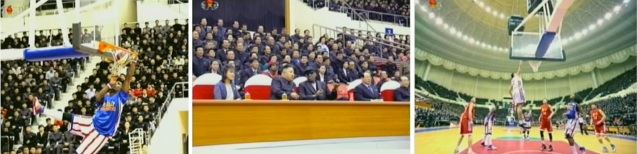 Kim Jong Un and Dennis Rodman (C) watch a basketball game between teams of US and DPRK players at Ryugnyong Jong Ju Yong Indoor Stadium in Pyongyang on 28 February 2013 (Photos: KCTV screengrabs)