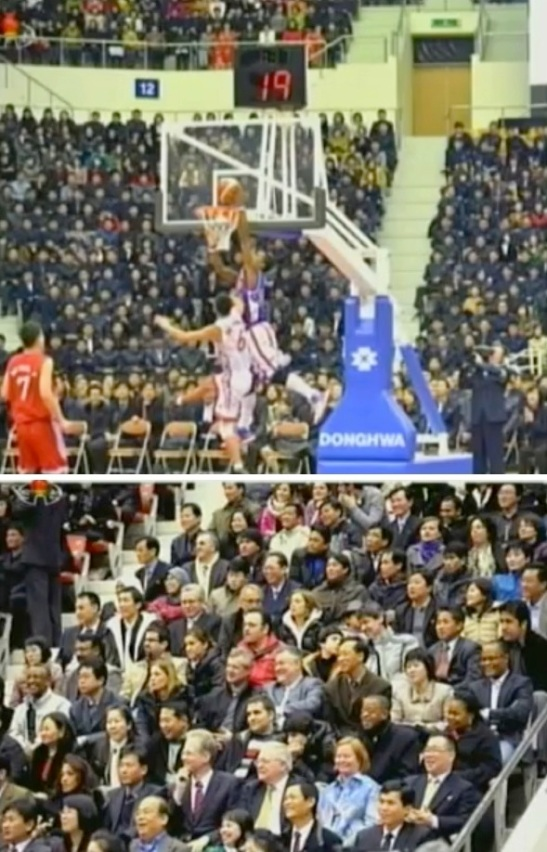 Basketball game between US and DPRK players (above) and officials at foreign embassies and non-governmental organizations (below) at Ryugyong Jong Ju Yong Indoor Stadium on 28 February 2013 (Photos: KCTV screengrabs)