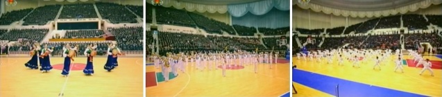 Halftime show at a US-DPRK basketball game showing an ogum dance routine (L), a brass band ensemble (C) and taekwondo demonstration (R) (Photos: KCTV screengrabs)