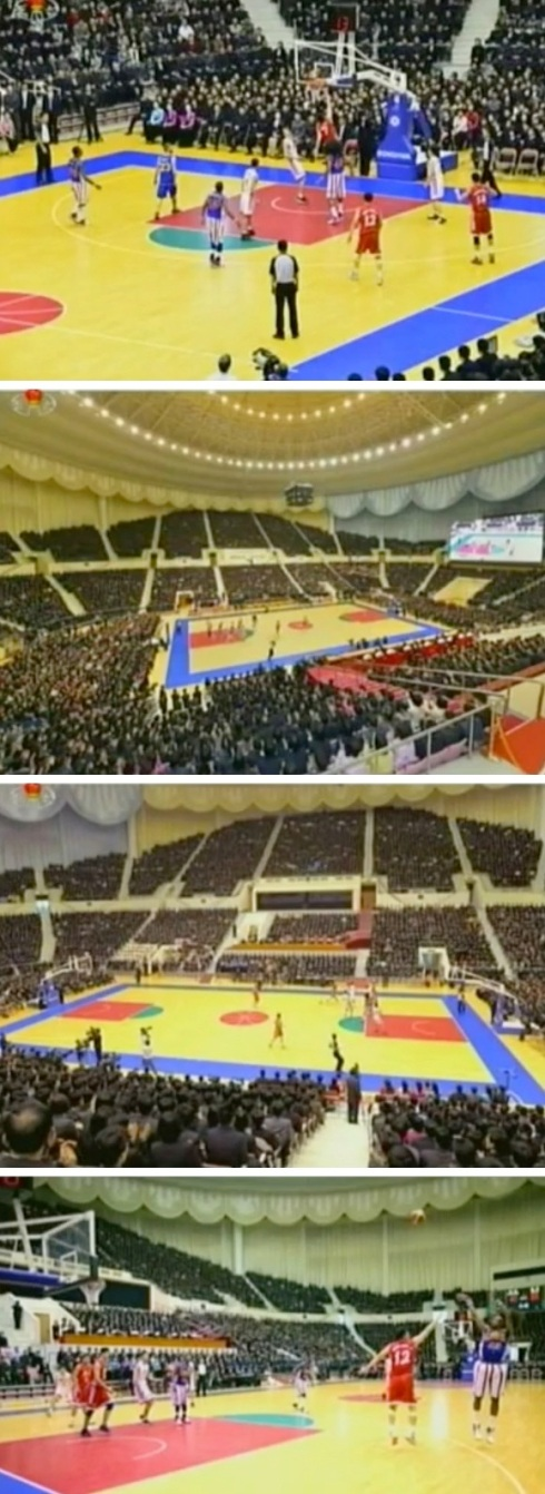 Second half of a basketball game played between US and DPRK players in Pyongyang on 28 February 2013 (Photos: KCTV screengrabs)