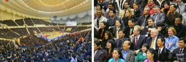 Overview of Ryugyong Jong Ju Yong Indoor Stadium, the venue for a 28 February 2013 basktball game between DPRK and US  players.  Employees of foreign embassies and non-governmental organizations in the DPRK, watching the game (Photos: KCTV screengrab)