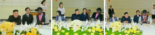 Kim Jong Un and his wife Ri Sol Ju dine with Dennis Rodman.  Seated between KJU and Rodman is an English-language interpreter (Photos: KCTV screengrabs)